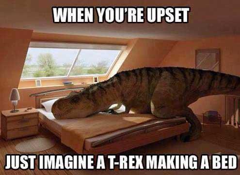 T-Rex macht sein Bett